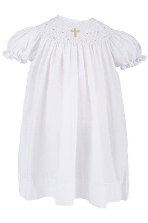Baby Girls Hand Smocked Christening Baptism Dress wi Bonnet- Gold Cross [product_tags] - Carriage Boutique