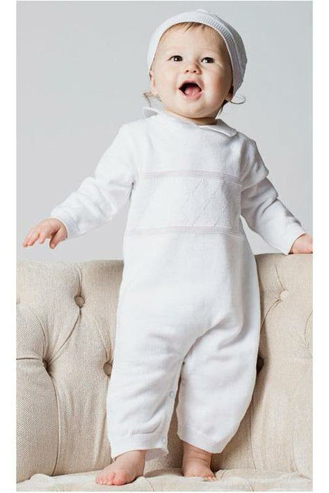 Baby Boys Christening Outfit - Coverall Diamond Stitching  with Hat [product_tags] Apparel- Carriage Boutique