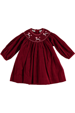 Baby Girl Poodles Long Sleeve Dress- Bishop