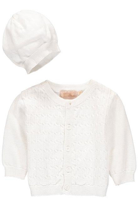 Cable Sweater in White with Hat [product_tags] sweater- Carriage Boutique