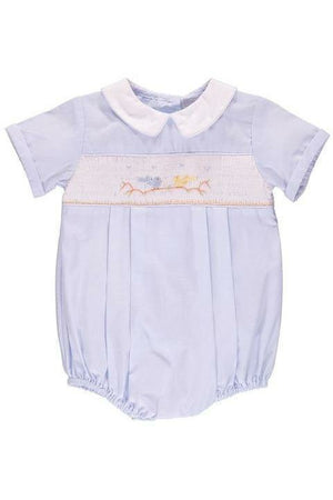 Baby Boys Hand Smocked Classic Creeper Blue Birds on Tree