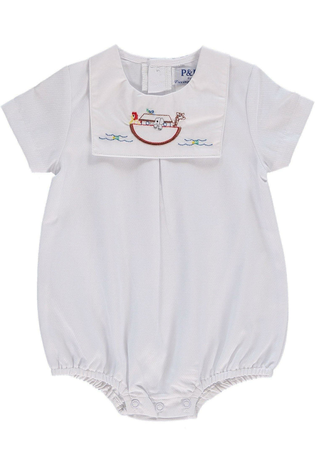 Baby Boy White Noah's Ark Bib Creeper, , Carriage Boutique, Imagewear