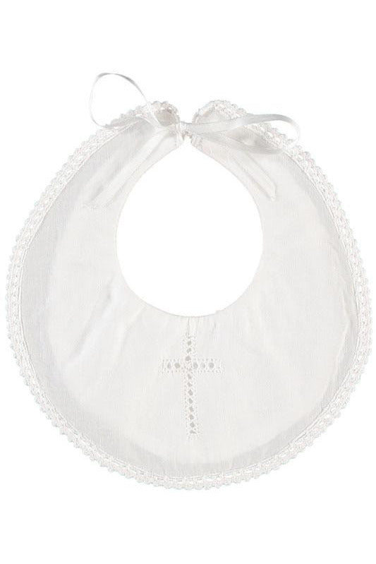 Christening / Baptism Bib with Cross and Satin Ribbon [product_tags] Apparel- Carriage Boutique