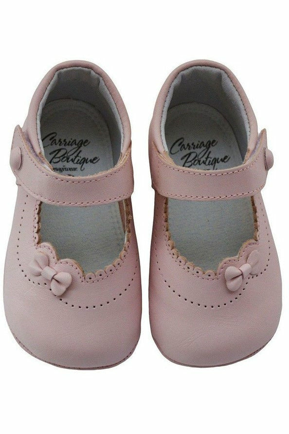 Baby Girl's Dressy Pink Leather Soft Sole Crib Shoes w/Bow, Size 15 EU/0 US INFANT