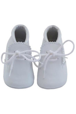 Baby Boys Leather Soft Sole Shoes w/ Laces - White Leather [product_tags] - Carriage Boutique