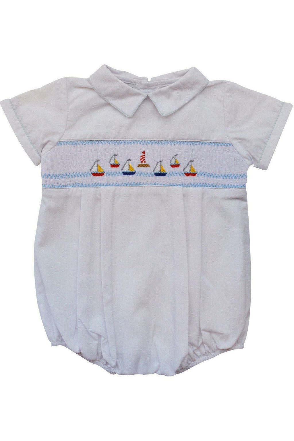 Baby Boys Hand Smocked Classic Creeper - White Mini Sail Boats [product_tags] - Carriage Boutique