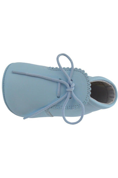 Baby Boys Leather Soft Sole Shoes w/ Laces - Blue Leather [product_tags] - Carriage Boutique