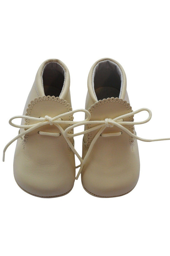 Baby Boys Leather Soft Sole Shoes w/ Laces - Beige Leather [product_tags] - Carriage Boutique
