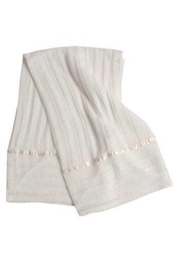 Carriage Boutique's Ivory Baby Blanket with Silk Lines