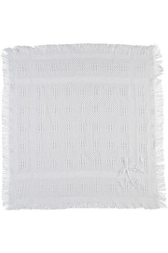 Julius Berger White Blanket with Fringe