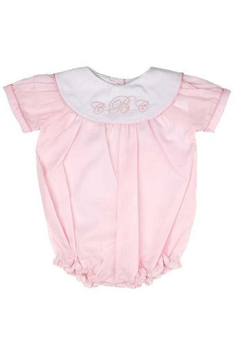 Personalized Baby Girl Classic Monogram Bubble - Pink