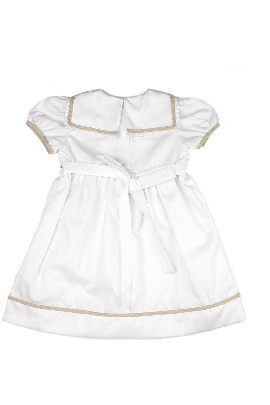 Baby Girl Elegant Spring Short Sleeve Dress - White Tan Nautical Sailboats [product_tags] - Carriage Boutique