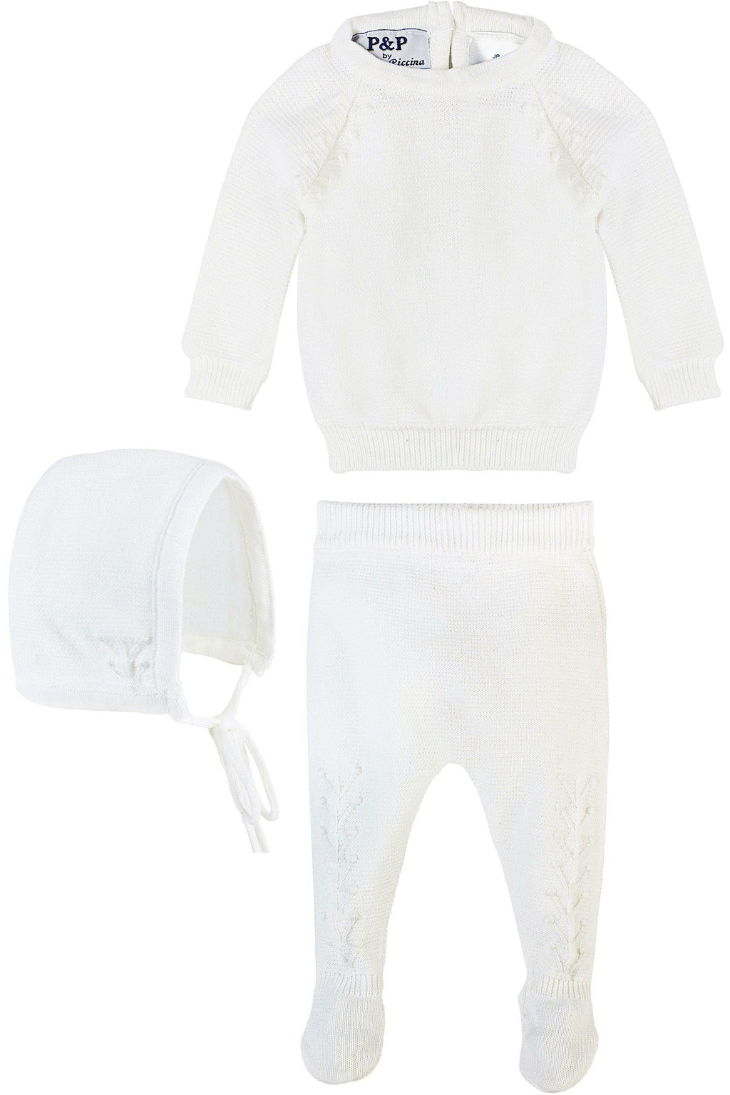 Baby Boy Special Occasion 2 Piece Knit Leaf Outfit + Bonnet