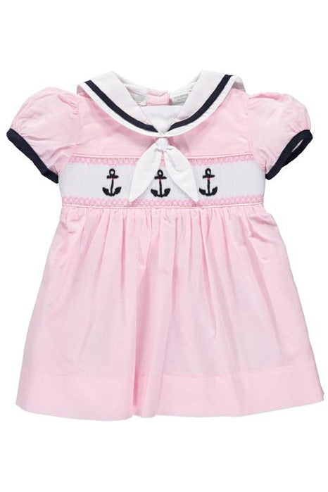 Baby Girl Smocked Dress Anchor Pink