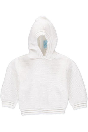 Zip Back Hoodie Baby Boy Sweater White
