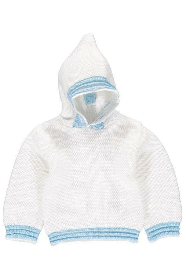 Personalized Zip Back Hoodie Baby Boy Sweater with Blue Trim
