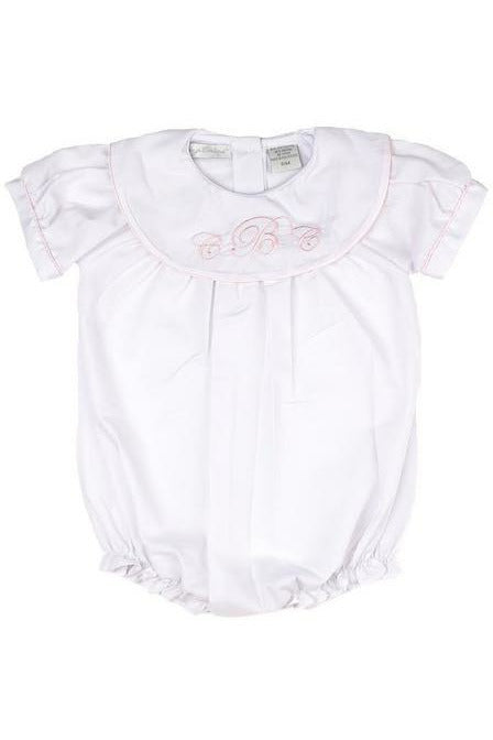 Personalized Baby Girl Classic Monogram Bubble - White