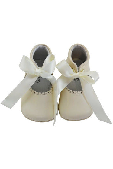 Baby Girl's Christening Leather Shoe w/ Satin Ribbon - Beige [product_tags] - Carriage Boutique