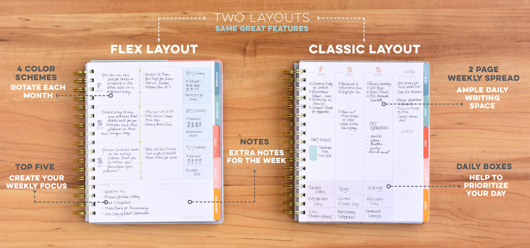 Weekly Planner in Horizontal or Vertical Layout