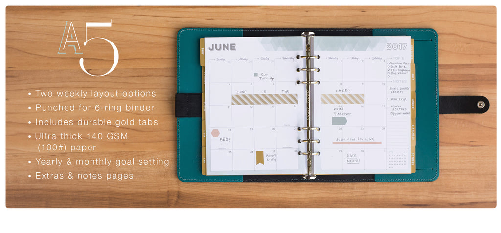 A5 Inserts for Weekly Planner in Horizontal & Vertical Layout