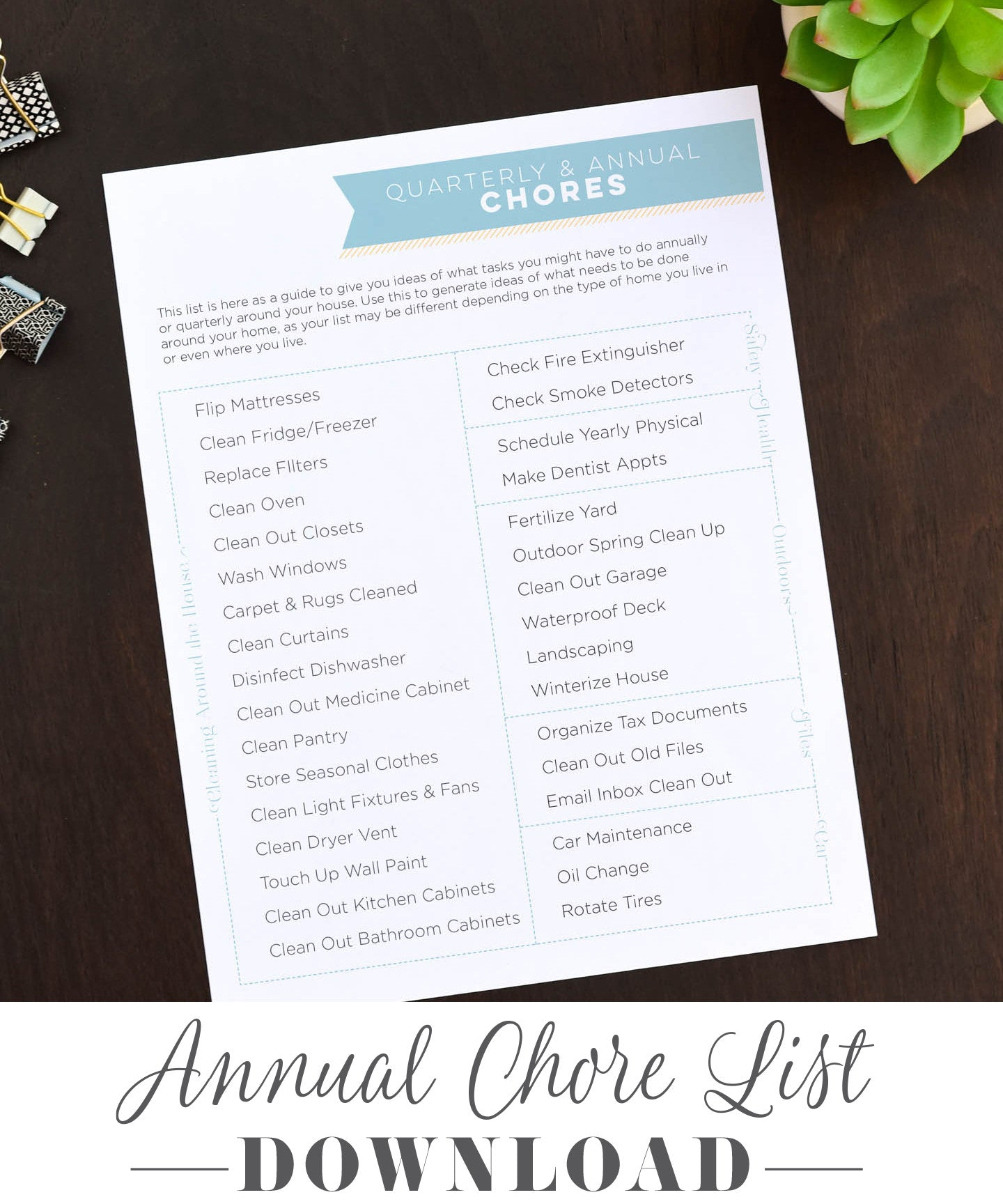 Organize Your Annual Household Chore List