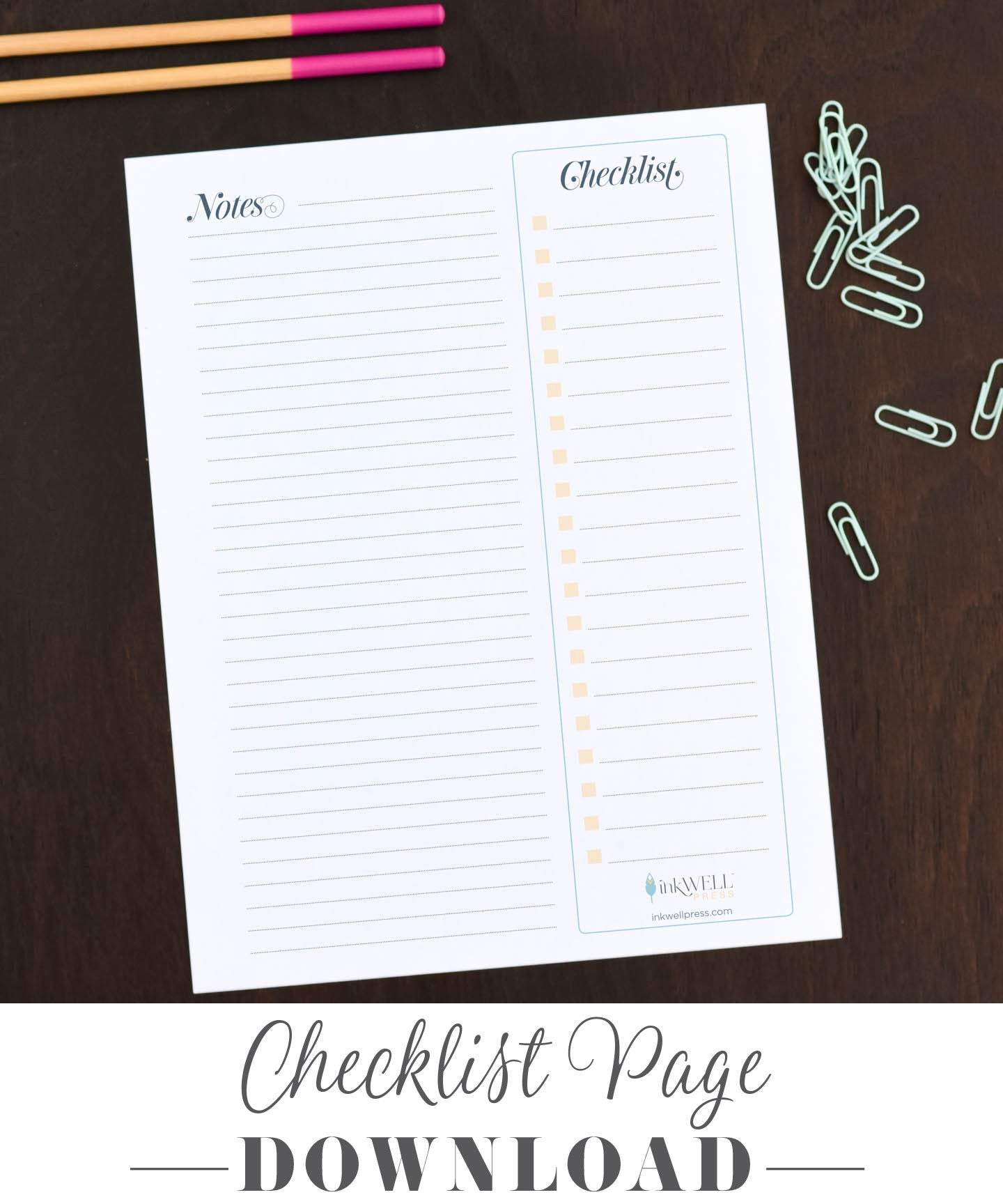 Free Download of To Do Checklist for Your Planner