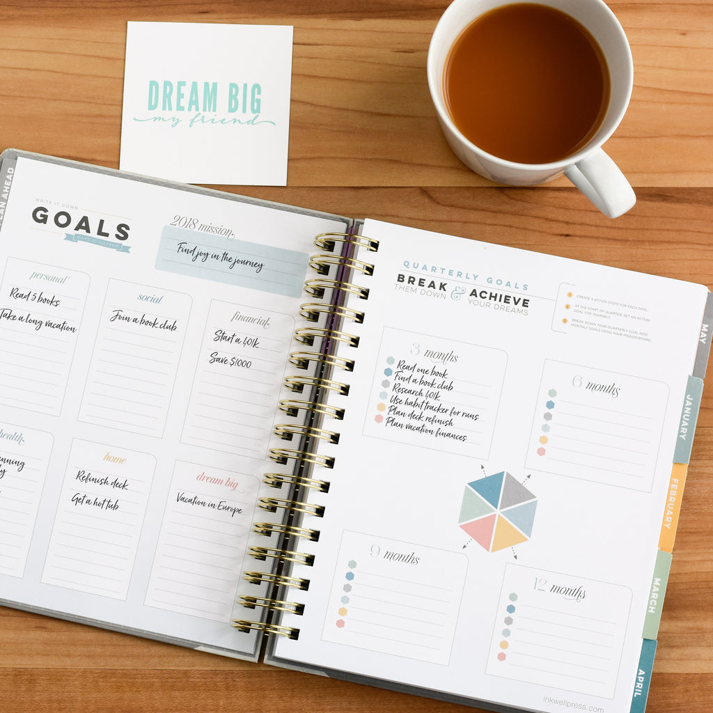 2018 Goal Setting Planner with Hard Cover and Thick Paper
