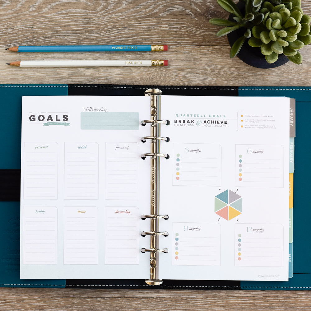 Yearly and monthly goal setting with A5 Inserts