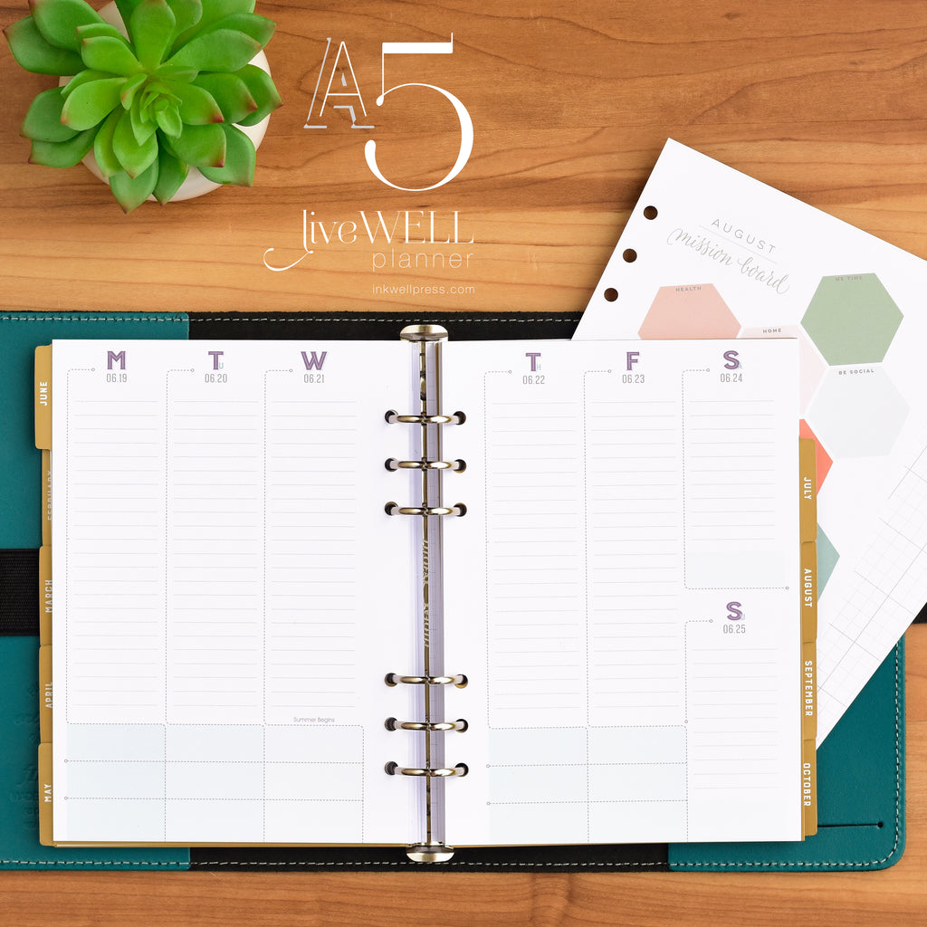 A5 liveWELL Planner Inserts from inkWELL Press in vertical layout