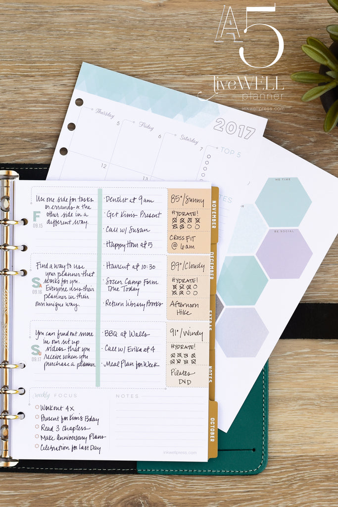 A5 liveWELL Planner Inserts from inkWELL Press in horizontal layout