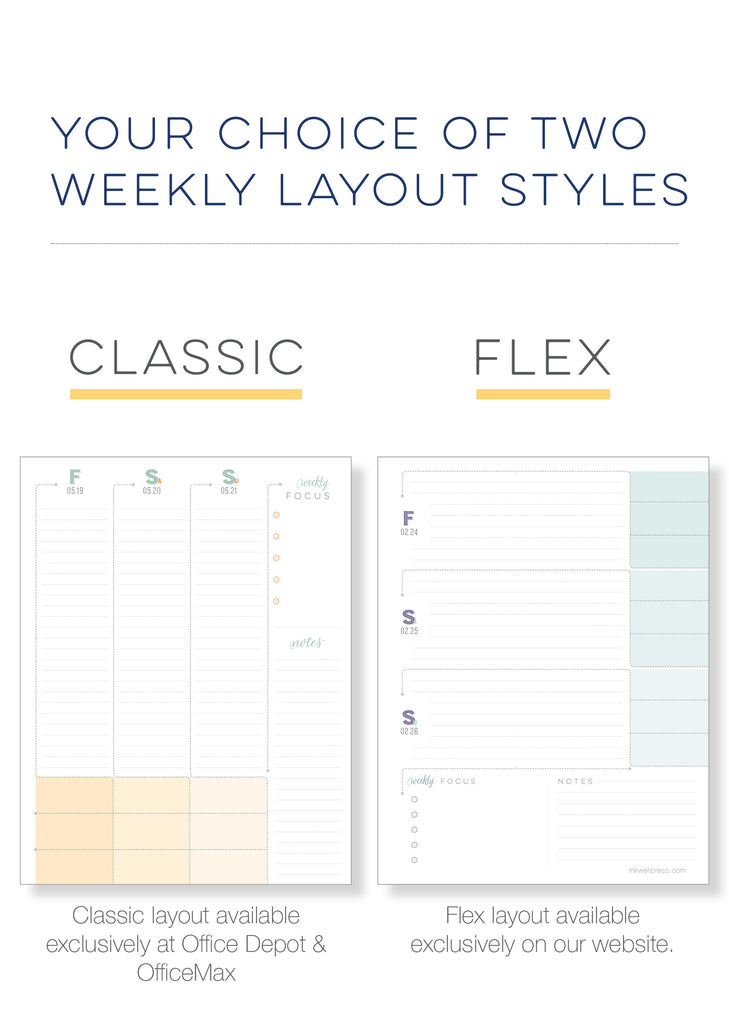 Weekly Planner in vertical or horizontal layout