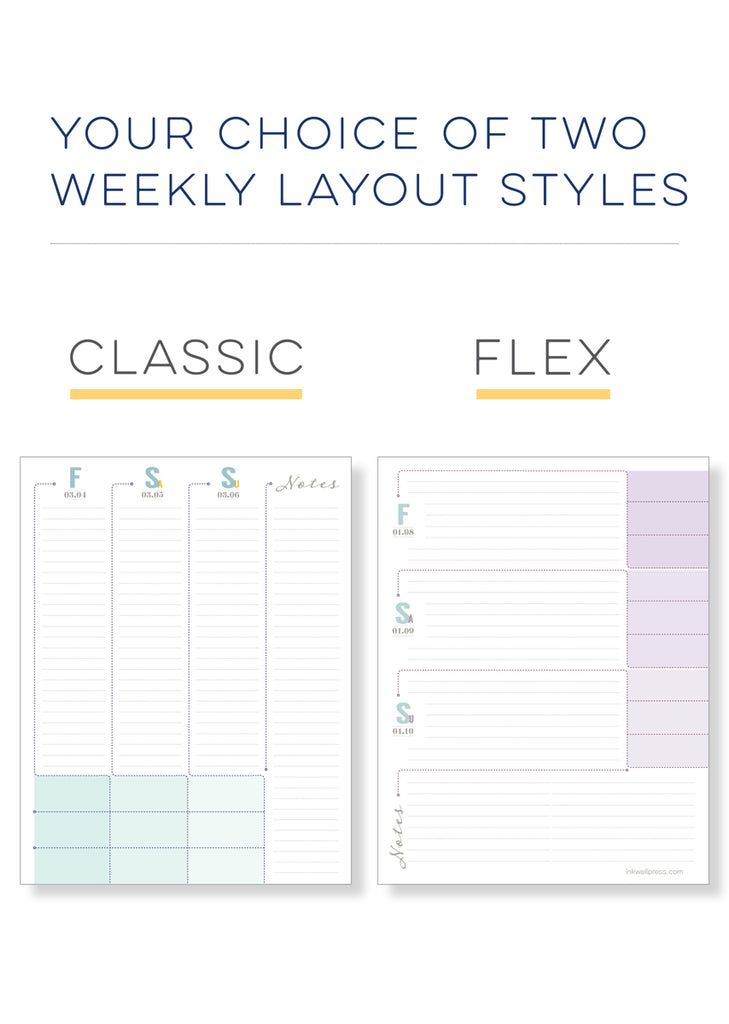 our weekly planner for women has two layouts