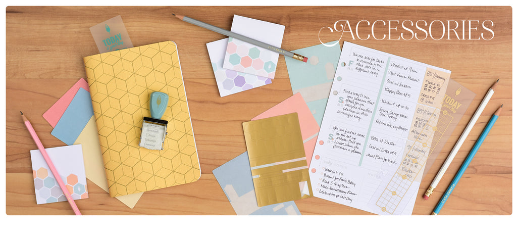 Planner Accessories including stickers, roller stamps, sewn journals