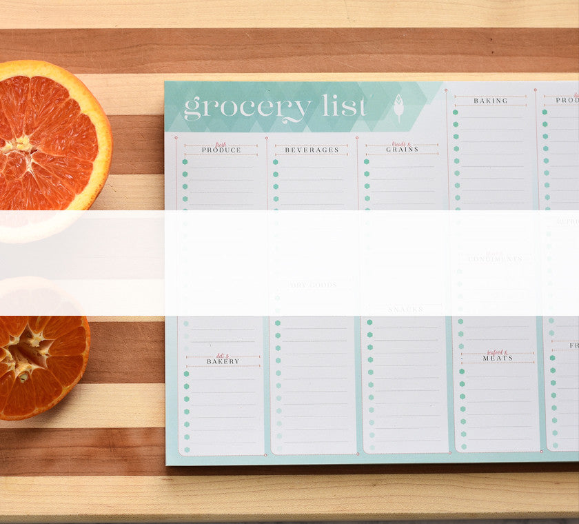Our grocery notepad helps you spend less time at the grocery store and use your time effectively.
