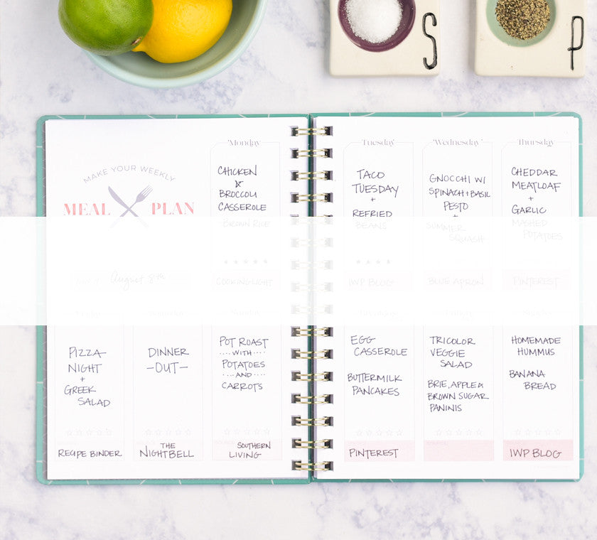 Meal Planners help show you how to make weekly meal plans and help you grocery shop even faster.