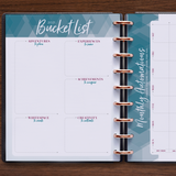 inkWELL Press Weekly Flex Planner with Extra Pages showing Bucket List and Monthly Automations