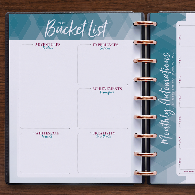 inkWELL Press Planner Colorful Monthly Overview in Silver Discs