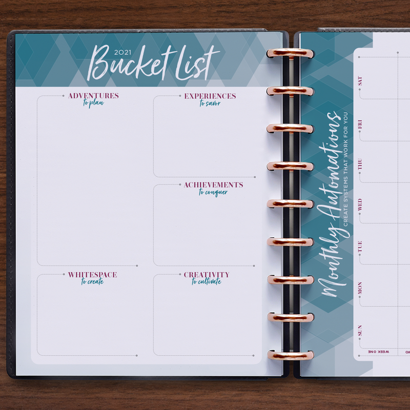 inkWELL Press Weekly Flex Planner showing Weekly Spread with colorful daily boxes and silver discs