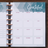inkWELL Press Weekly Flex Planner showing Extra Pages with Gift List and Gratitude Pages