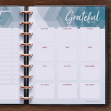 inkWELL Press Weekly Planner showing Extra Pages with Gift List and Gratitude Pages
