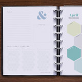 inkWELL Press Planner Colorful Monthly Plan & Focus Page and Monthly Mission Boards in Silver Discs