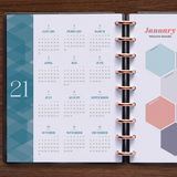 inkWELL Press Planner Colorful Perpetual Calendar and Monthly Mission Board in Silver Discs