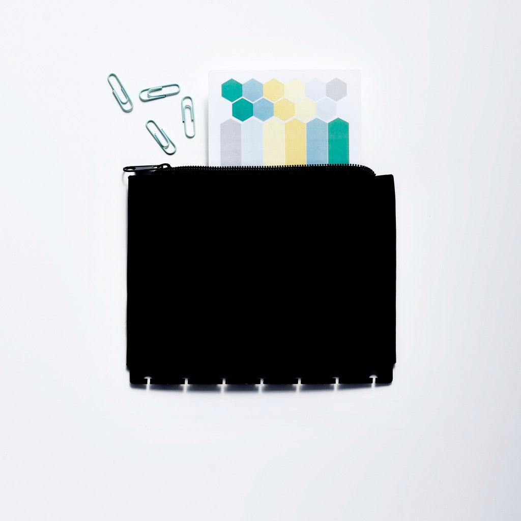 Sleek Black Storage Pouch for Accessories and Stickers from Inkwell Press