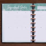 inkWELL Press Daily Planner showing Yearly Planning and Important Dates with Rose Gold Discs