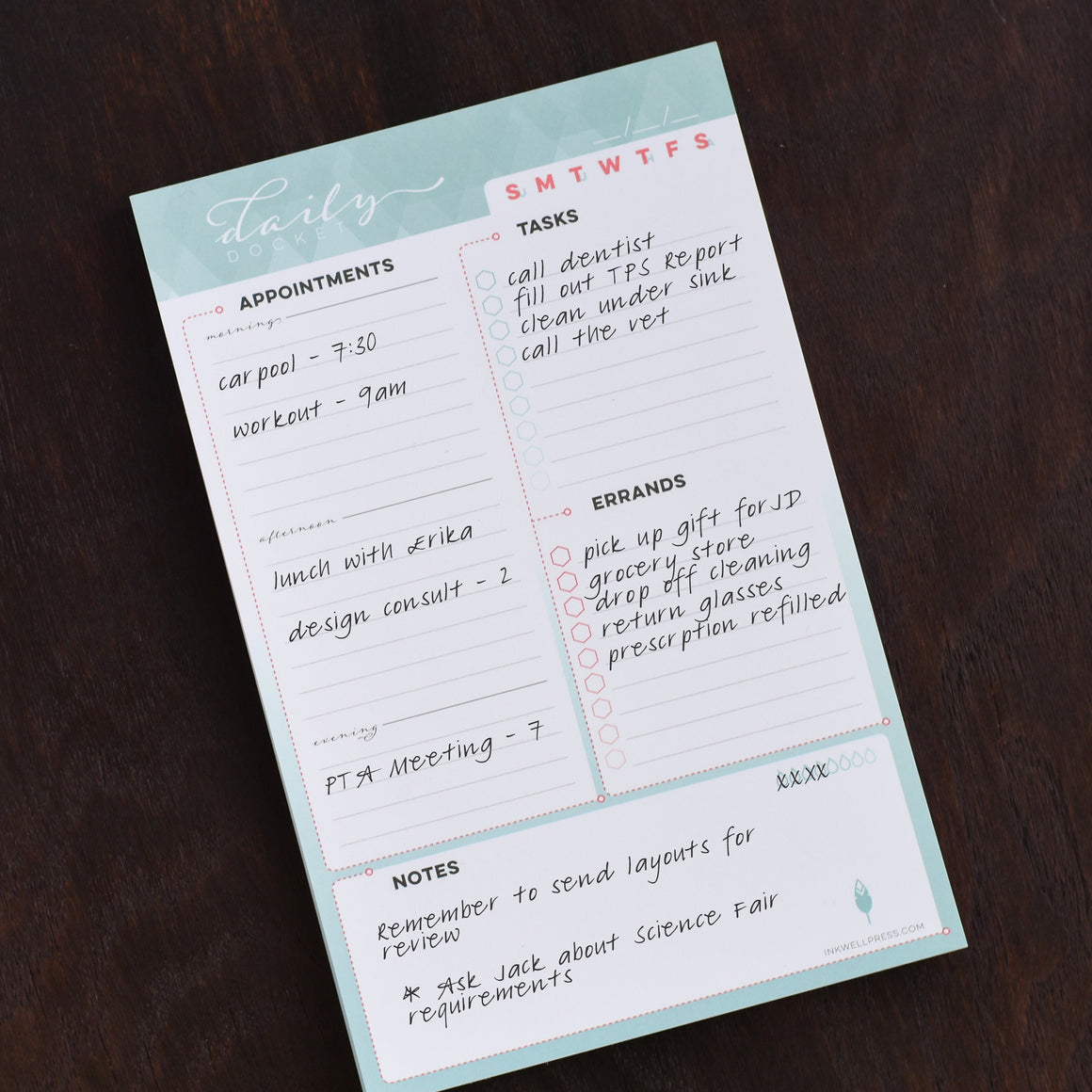Daily Planner Notepad to help organize your day