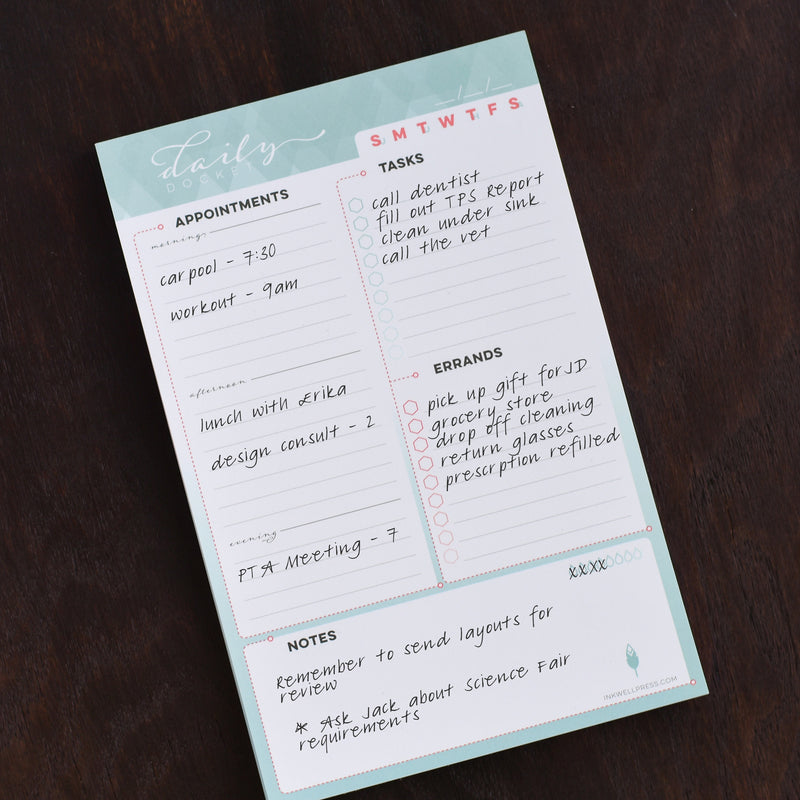 graphic regarding Daily Docket Printable called Organizational Notepad for Girls in direction of Aid Streamline Your Working day