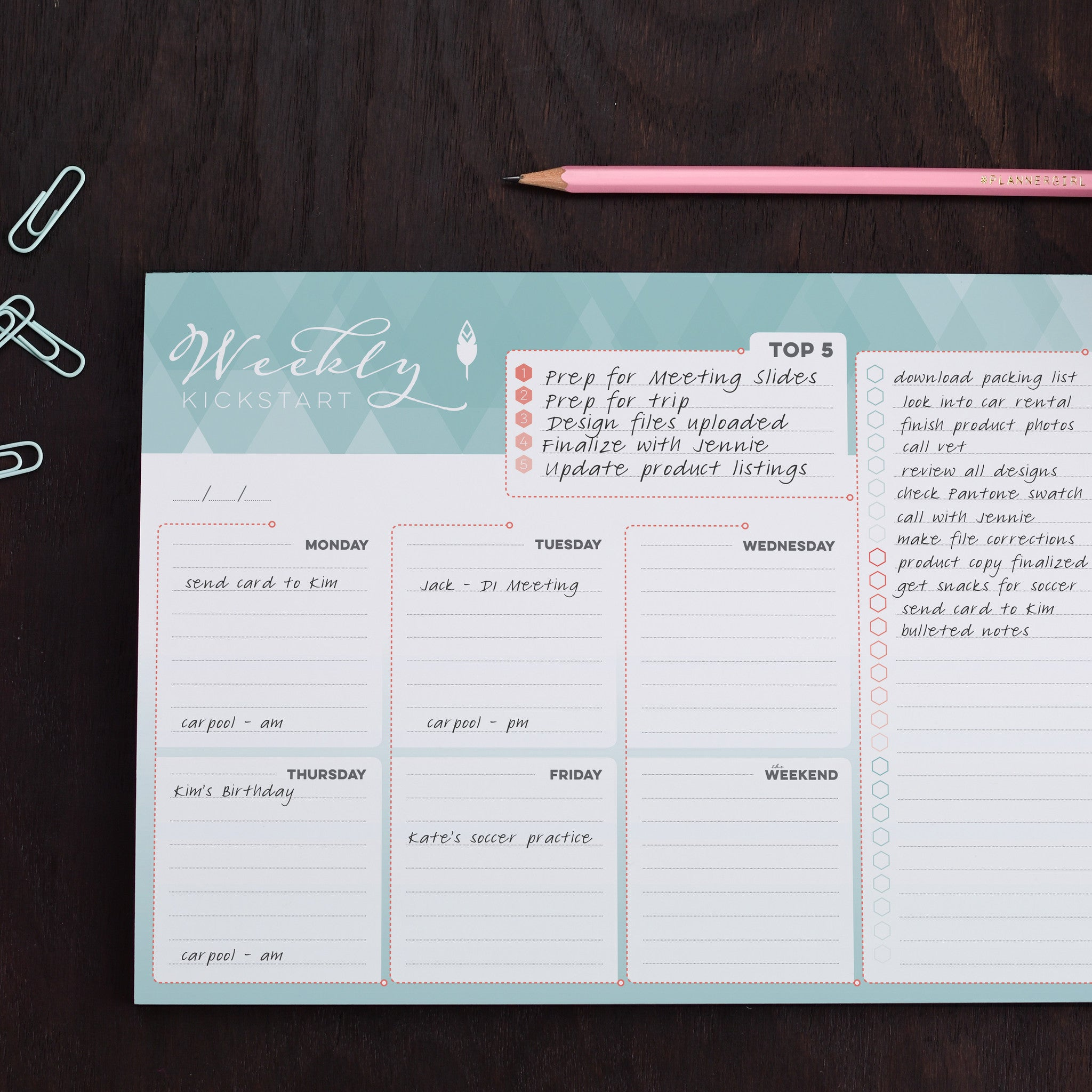 weekly planner notepad to organize your weekly schedule errands and tasks