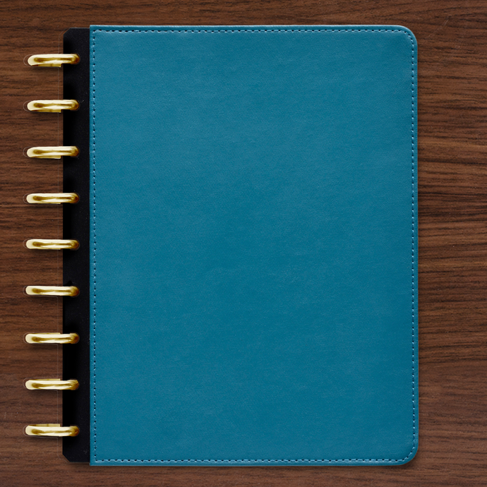 Blue Teal Vegan Leather Cover with Gold Discs Bundle