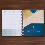 Blue Brown Triple Pocket Folder with Silver Discs in 360 Planner