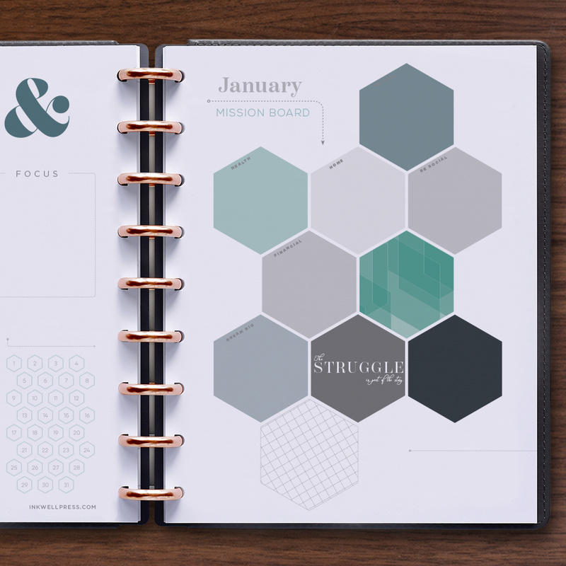 360 Disc Planner with Colorful layout and Double Page Monthly Overview